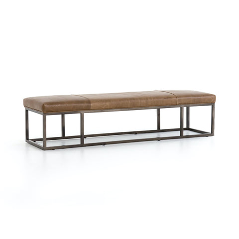 Boston Bench brown leather black iron frame