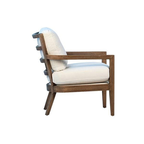 Bowry Chair ivory linen upholstery seat natural brown oak wood frame