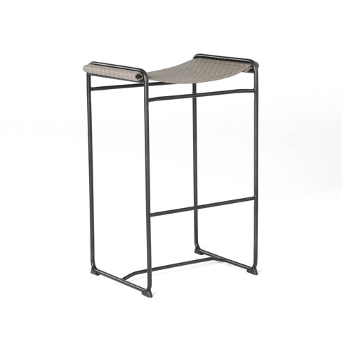 Brandon Bar Stool embossed Leather Grey seat black iron base