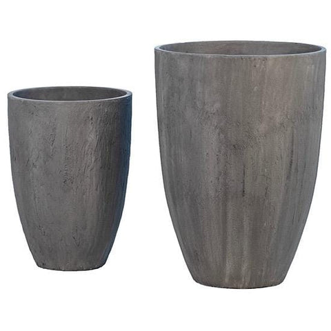Brandy Planters sand fiber composition grey charcoal finish outdoor planters