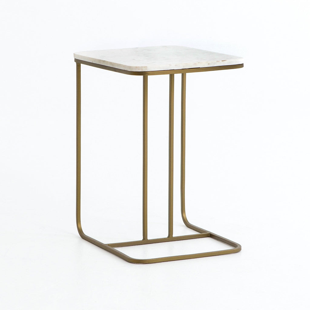 Braun C Table white marble top brass base modern
