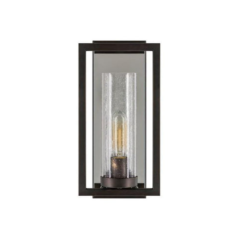Brees Wall Sconce ebony black metal frame clear glass light holder