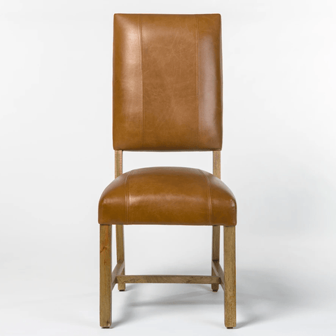 brit dining chair tobacco brown leather front