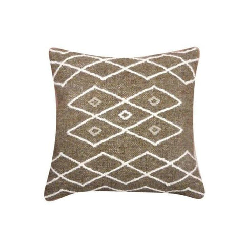 Brown Wool Pillow aztec pattern