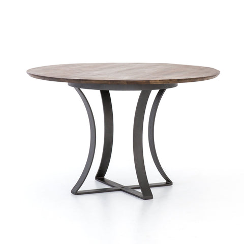 Alex Dining Table wood round metal base
