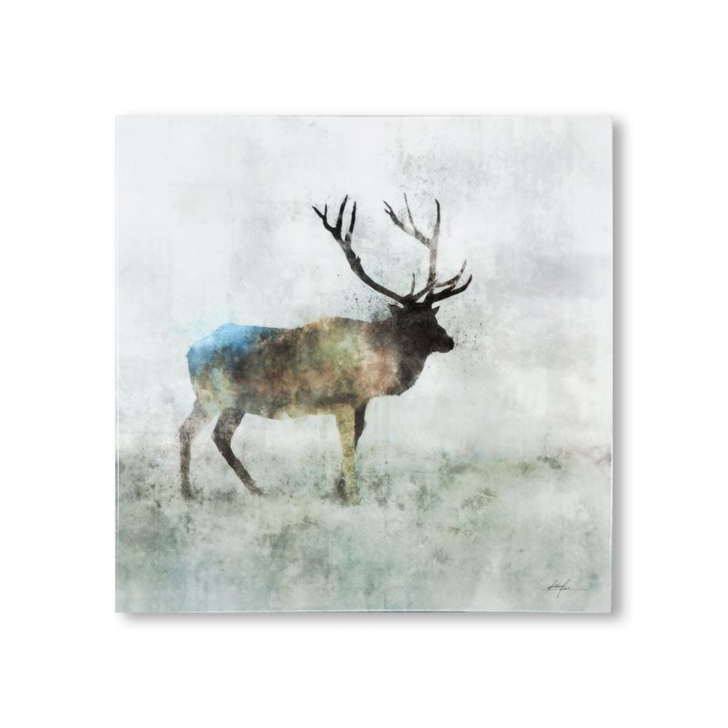 Buck Artwork white brown green blue hints canvas wood frame front view