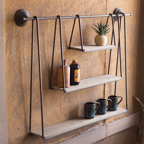 Triple Hanging Shelf Wood and Metal