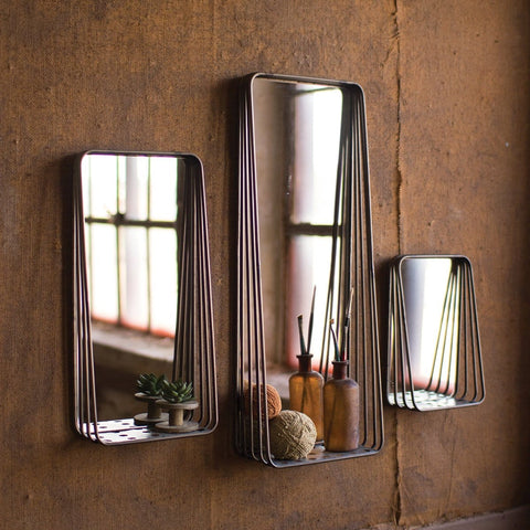 Metal Framed Mirrors With Shelves Set Of Three