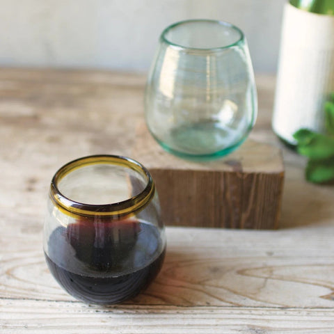 Amber Stemless recycled Glass drink