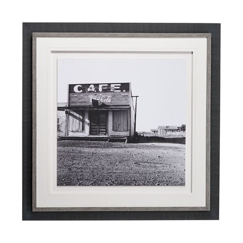 Cafe Artwork Black grey frame white backdrop