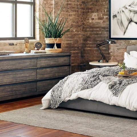 Caleb 6 Drawer Dresser grey wood frame black iron handles industrial rustic