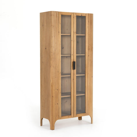 Carine Cabinet made of brown Reclaimed Pine with black Iron accents and tempered Glass doors
