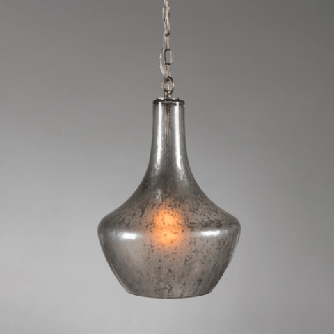 Casper Pendant made of iron base with an acid-etched glass shade