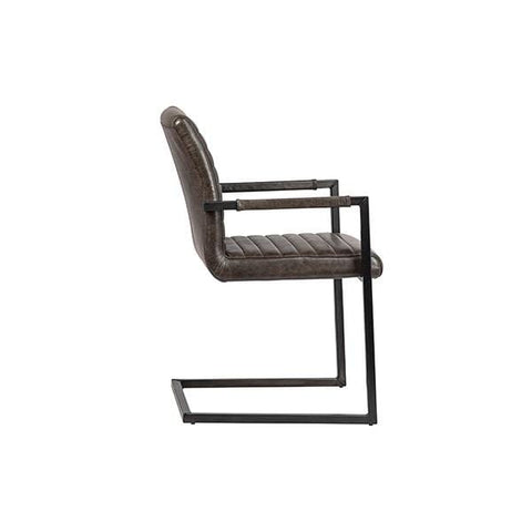 Cassius Chair umber brown top grain leather black metal iron frame