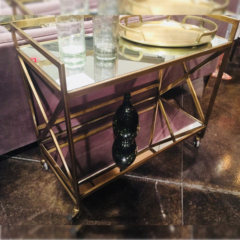 Cecil Bar Cart brass nickel finish mirrored shelves modern design