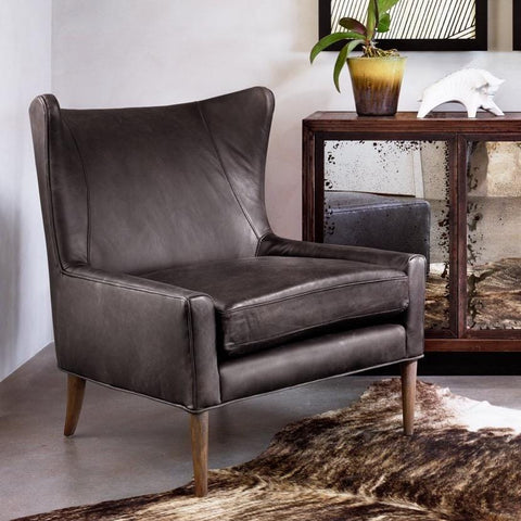 Celine black leather wing chair