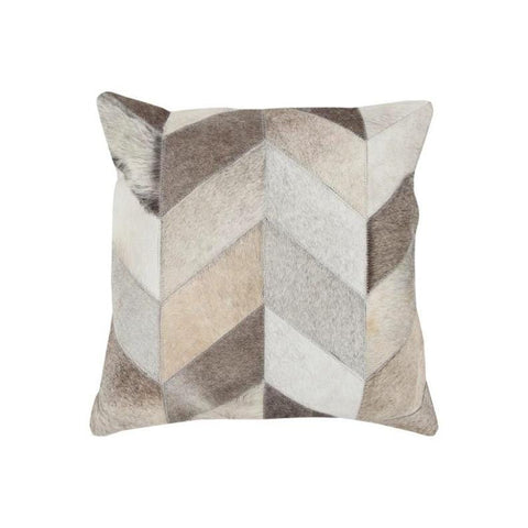 Chevron Pillow Cowhide, Down-Filled, Cotton, Brown, Grey, Ivory