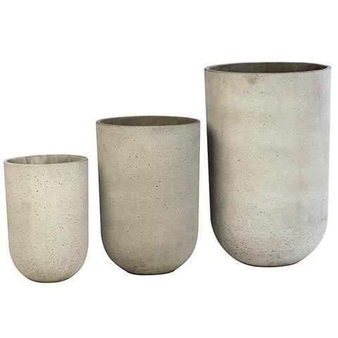 Cliff Planters light grey concrete pots with polished inside trendy outdoor garden accents