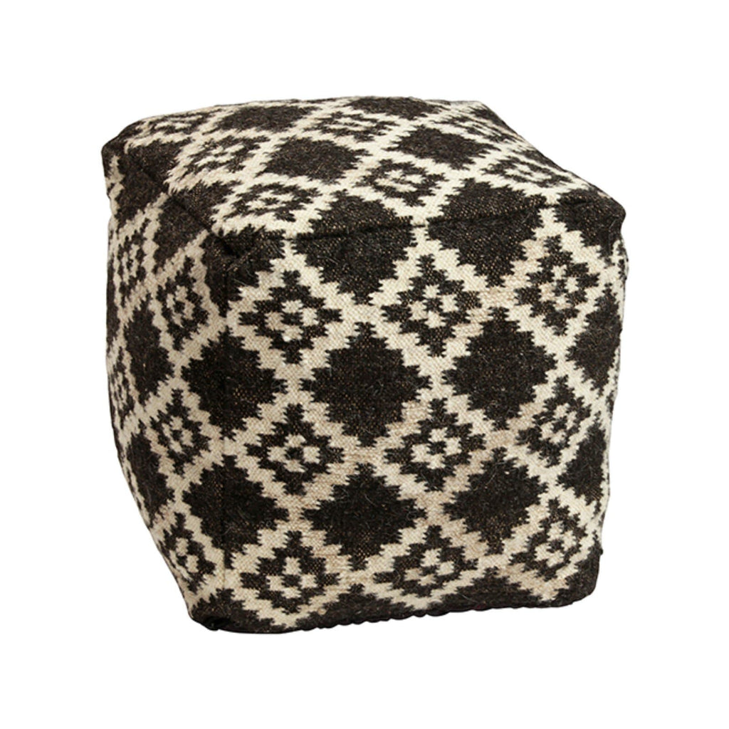 Woven Wool Pouf in Aztec pattern in black and white