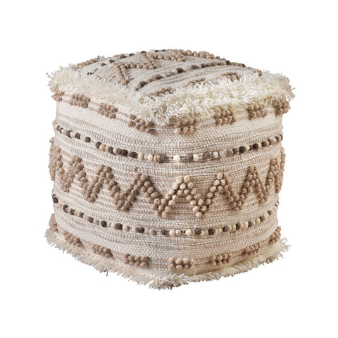 boho brown ivory pouf handmade made of wool