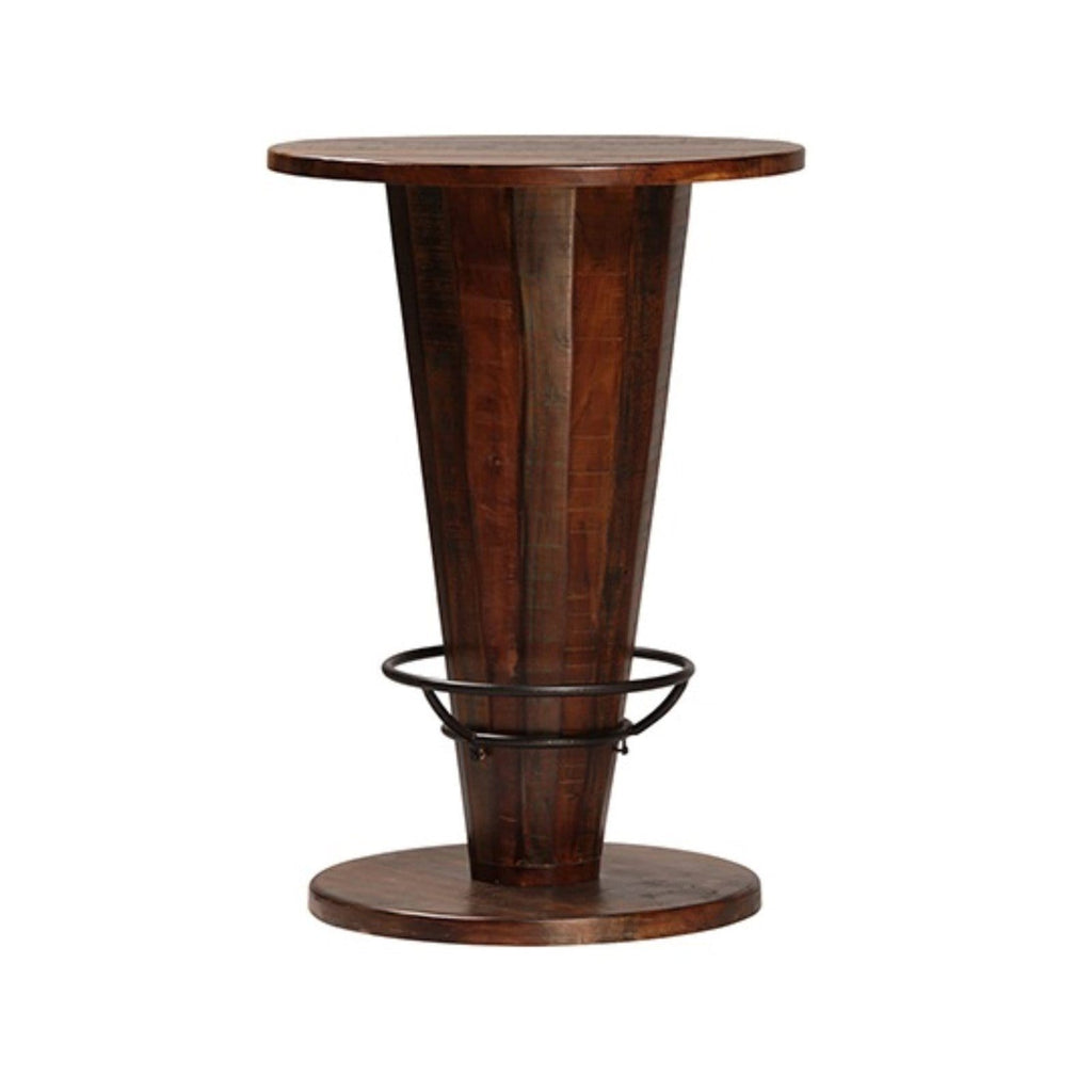 Essex Pub Table brown hardwood v shape table with iron black footrest
