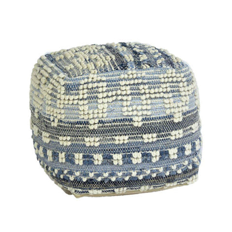 ivory blue wool denim pouf with aztec design