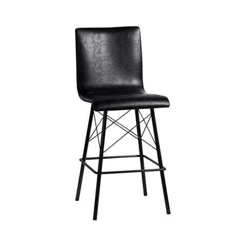 Asher black leather metal counter stool