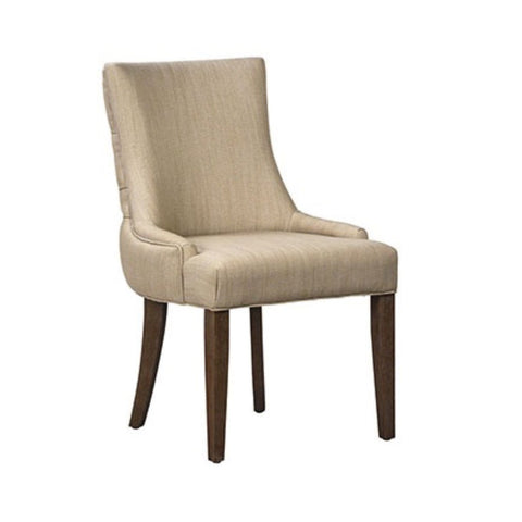 Adeline ivory polyester blend upholstery dining chair wood legs tufted