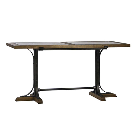 Corbin Counter Table brown oak wood bluestone slabs iron frame