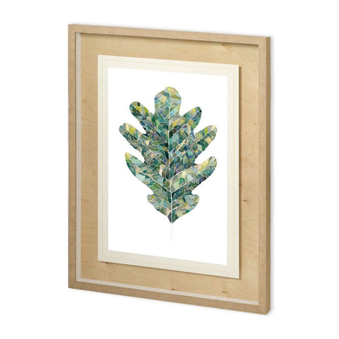 Oak Leaf Print greens blues white paper brown wood frame