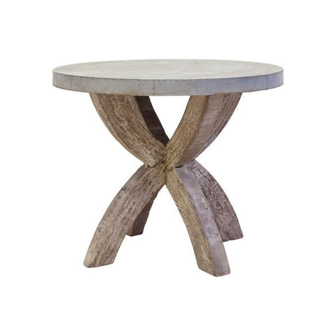 Zinc Bistro Table hammered top white wash base