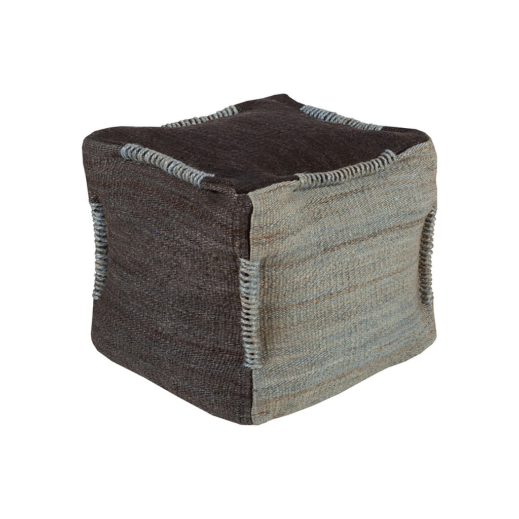 Jute Brown and Grey Pouf