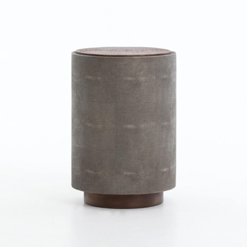 Dara round end table peroba shagreen reclaimed