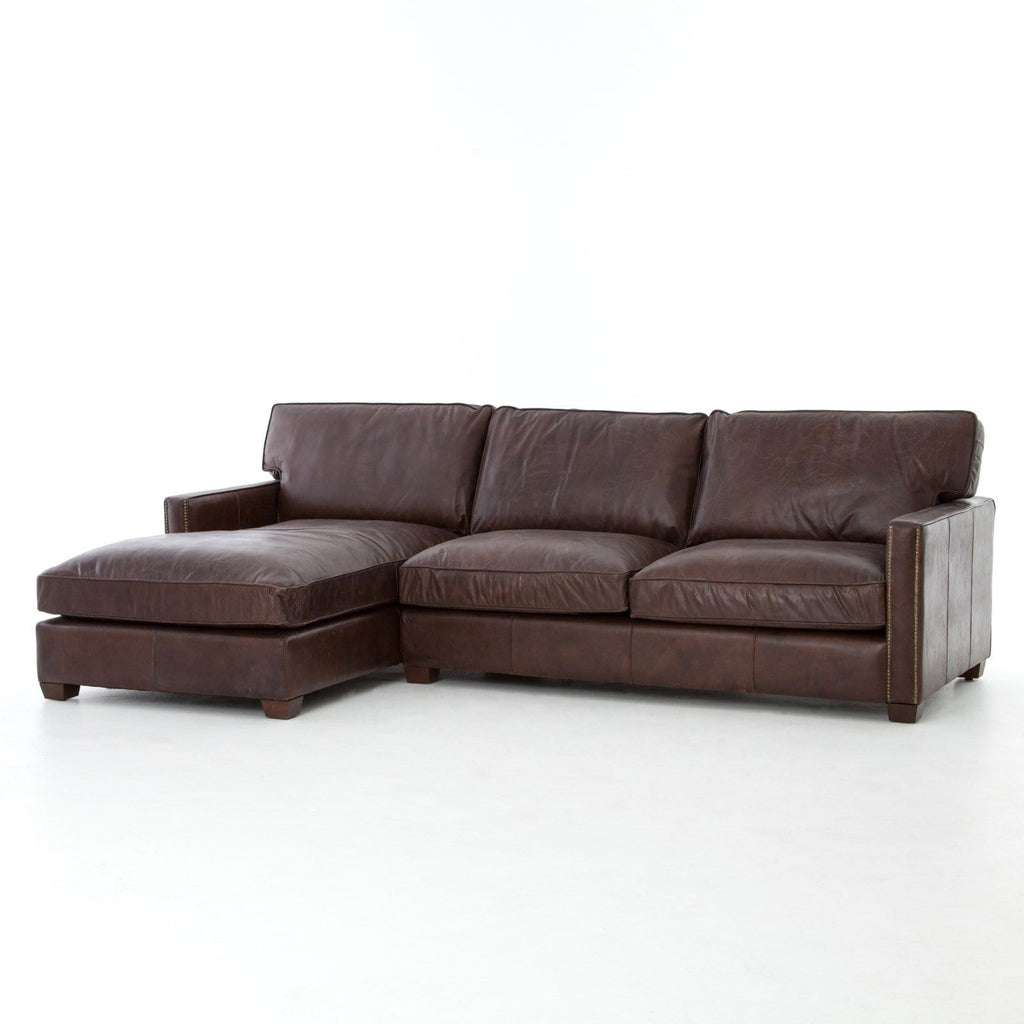 leather sectional with chaise brown