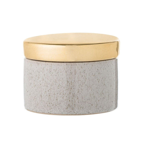 Round ceramic ivory gold box
