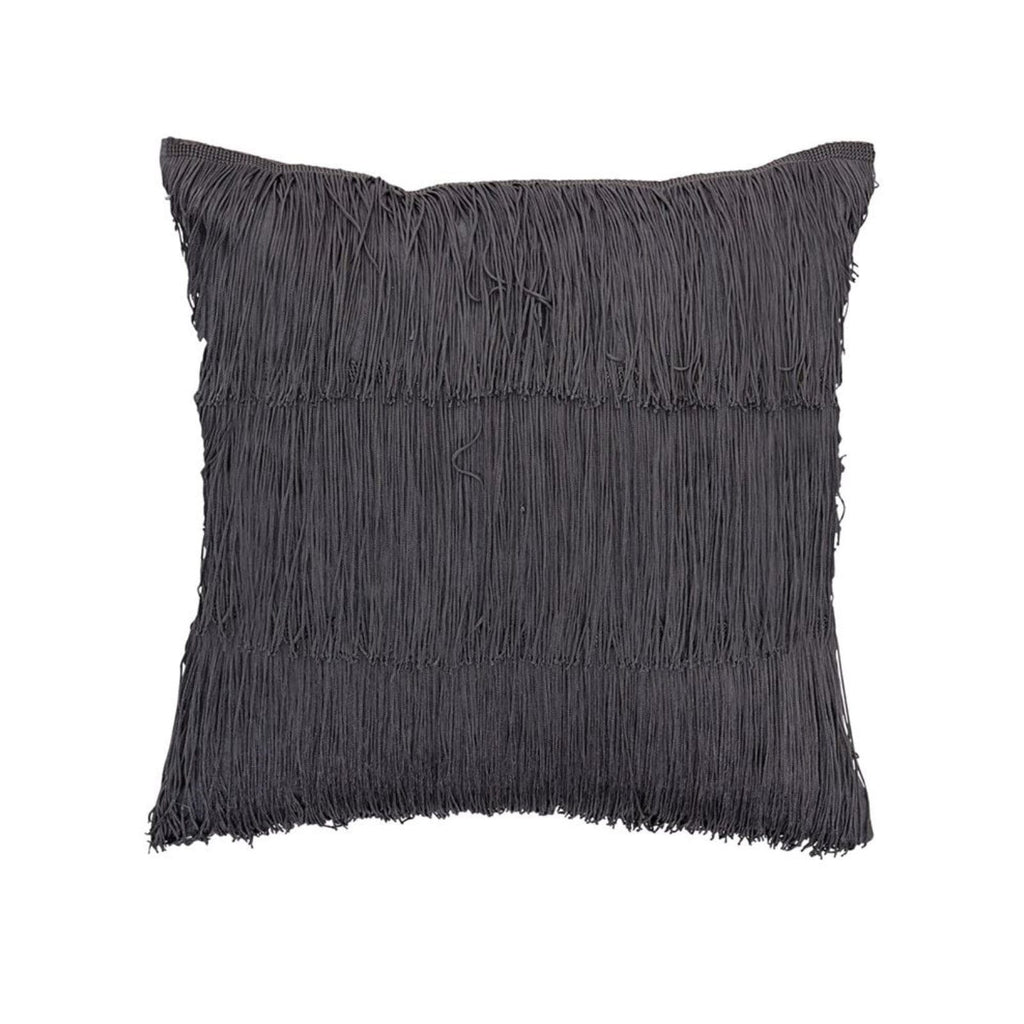 Cotton Pillow with Grey Fringe