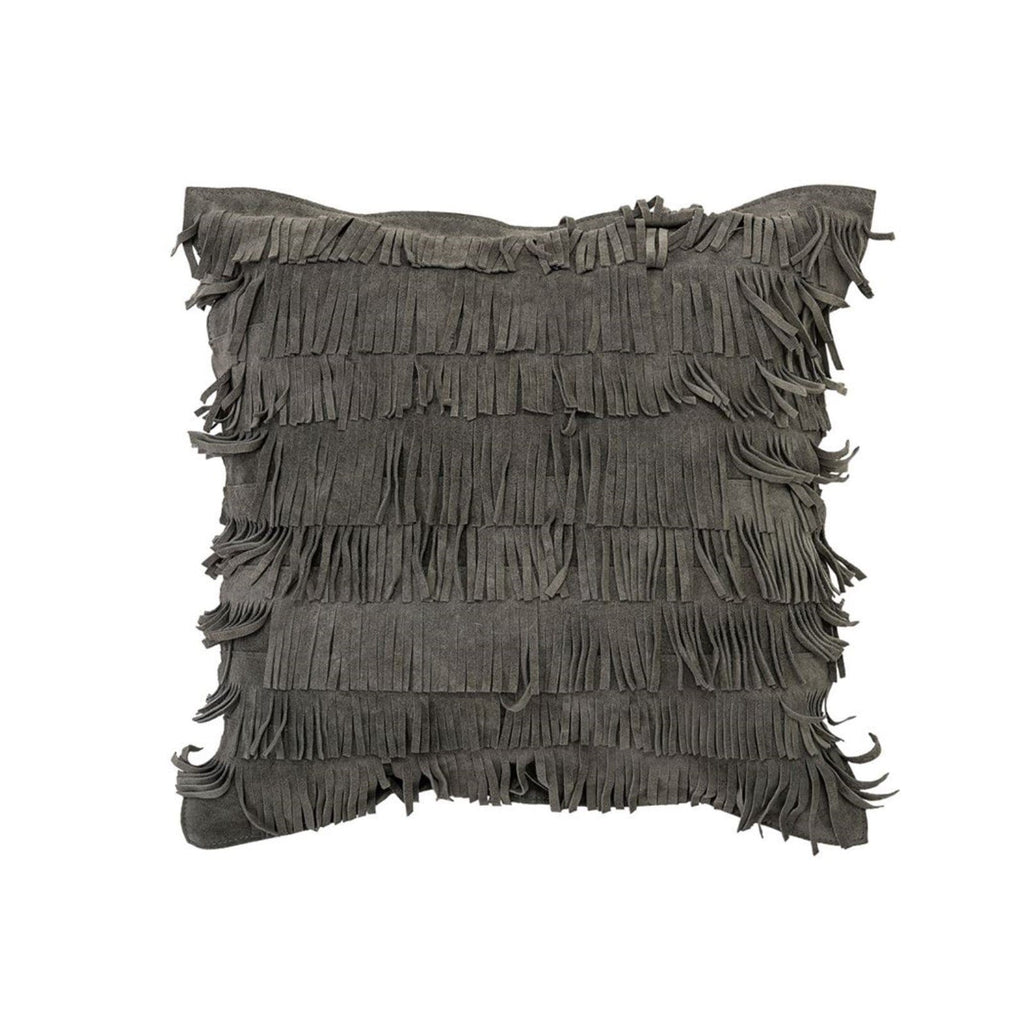 Grey Suede Fringe Pillow
