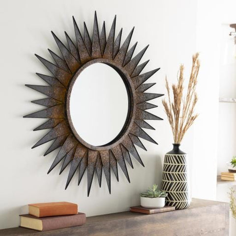 Daniel Mirror metal iron frame natural copper finish trendy clock