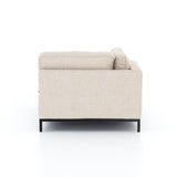 Darcy 3 Piece Sectional modular sand linen polyester fabric black iron base mid-century side view