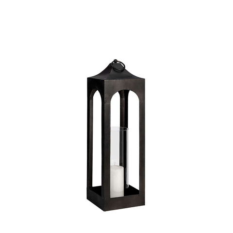 Davey Candle Holder modern black metal frame glass hurricane center small view