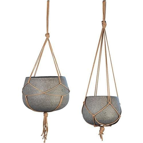 Dawson Hanging Pots grey cement brown rope trendy outdoor accents