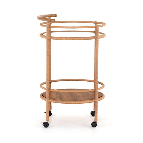 Demeter Bar Cart made of copper brown Polyethylene and natural Teak Wood with Glass