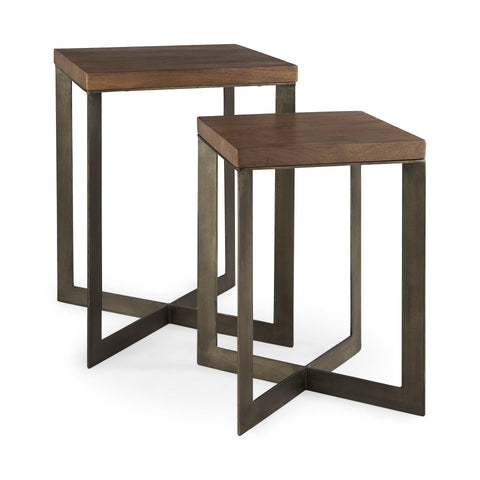 Dobbin End Table brown wood gunmetal grey iron frame front bunching view