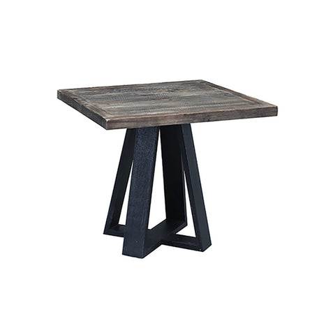 "Dorado Square Bistro Table 35"" natural reclaimed wooden top black pine base"