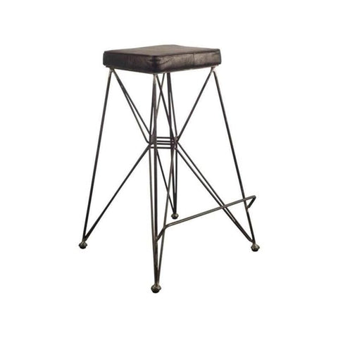 ebony square stool leather black
