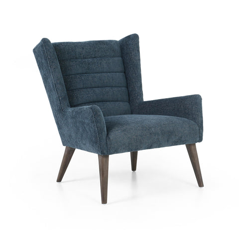 Eleanor Chair in Plush Azure Angled Sideview