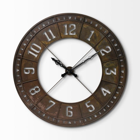 Eli Clock rustic brown metal wall product