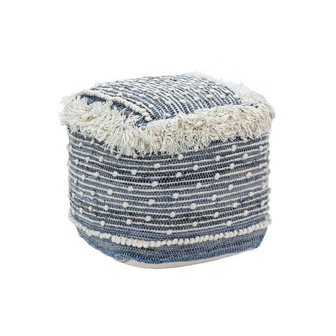 Elias Pouf blue denim white wool fringe pouf trendy polka design