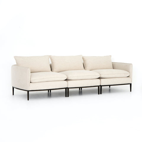 Esme Sofa white linen cushions black metal frame modular modern living room furniture sustainable front view