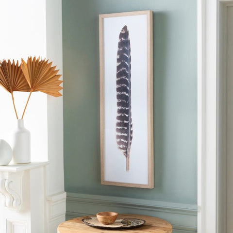 brown feather print artwork with rectangular wood frame front view